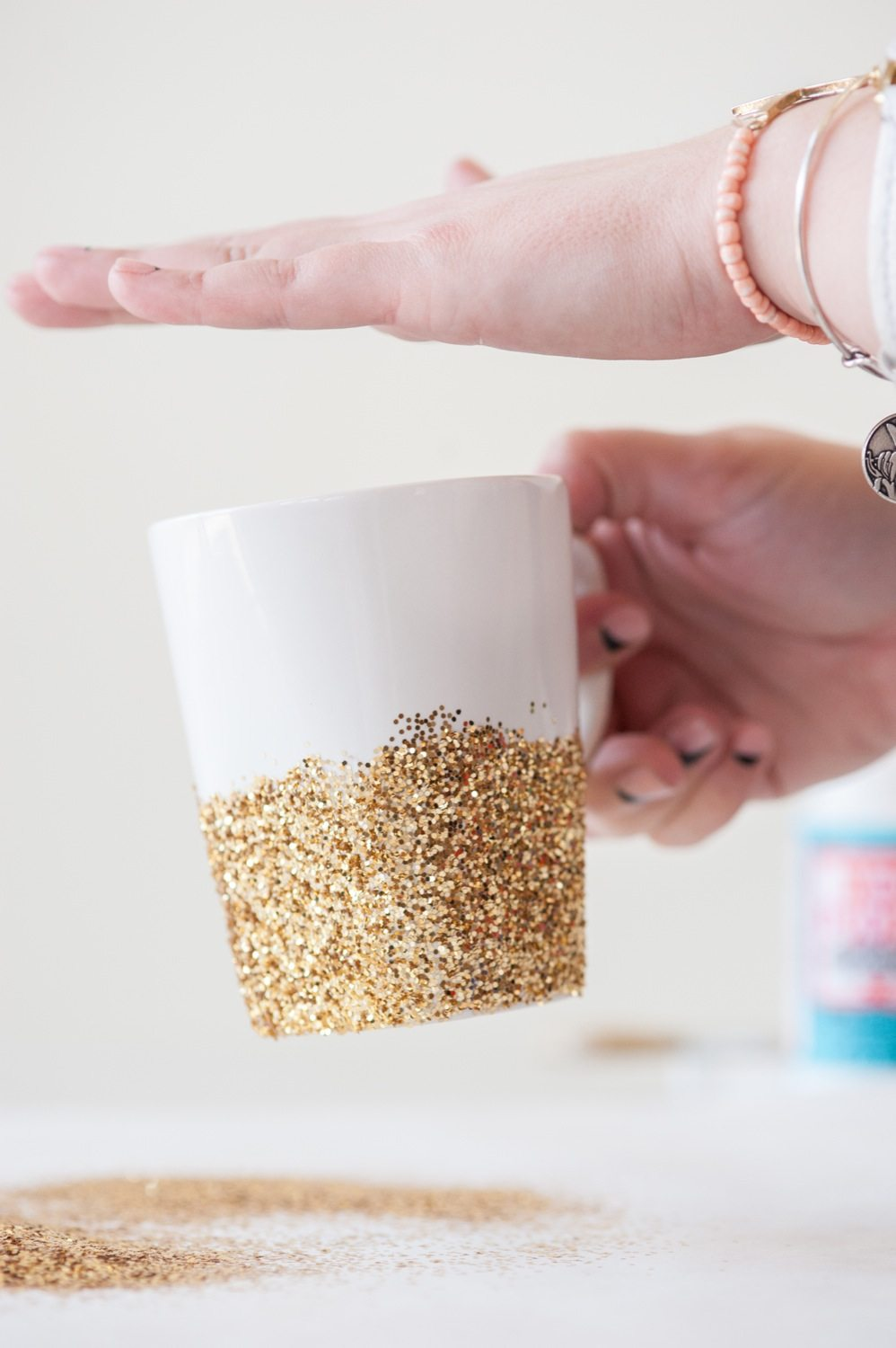 DIY Gold Glitter Dipped MugsThe Sweetest Occasion The