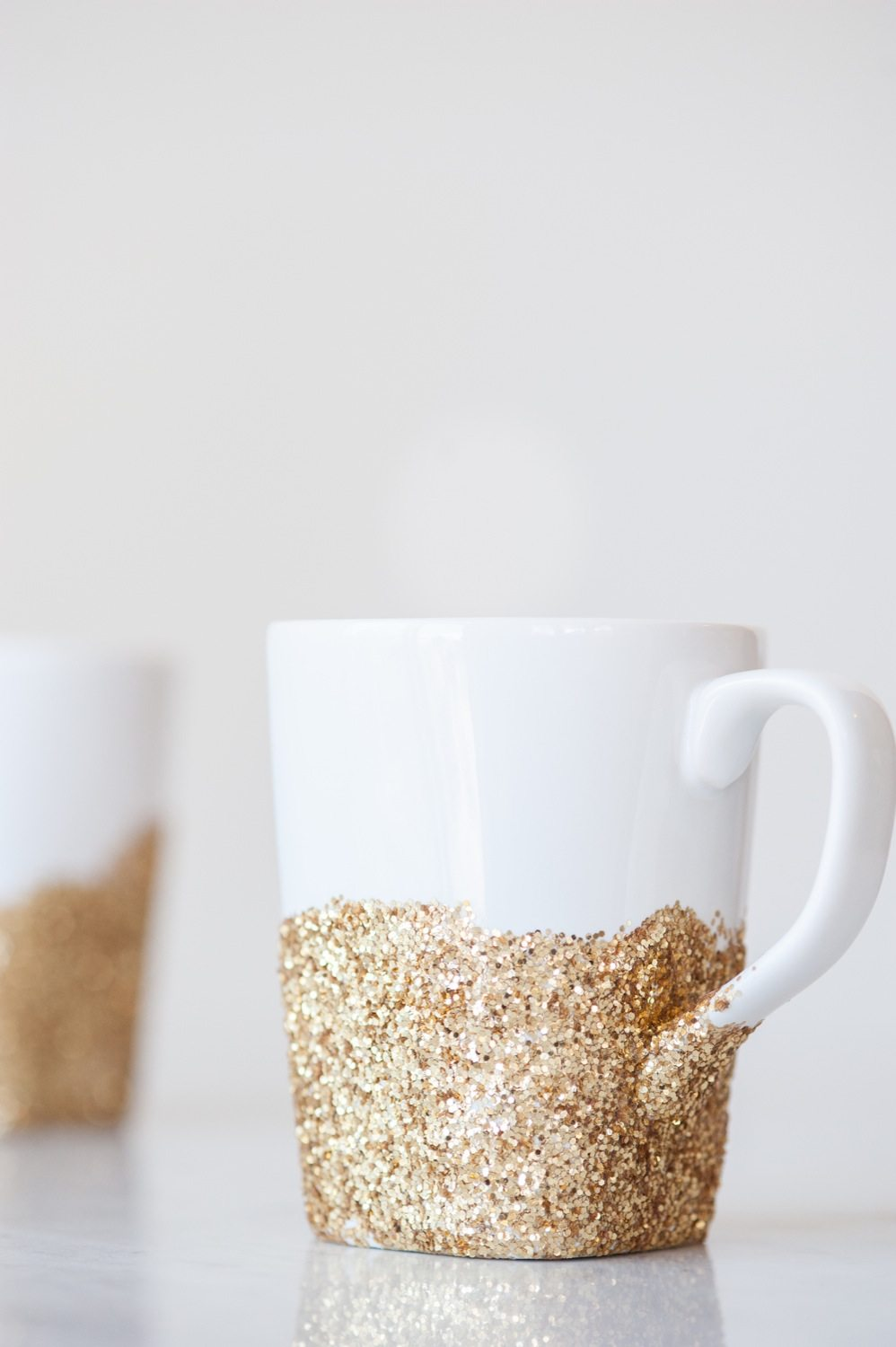 diy gold glitter dipped mugs the sweetest occasion. Black Bedroom Furniture Sets. Home Design Ideas