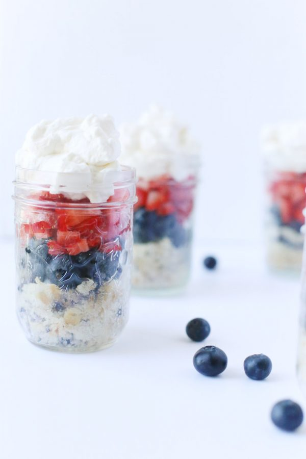 Red, White + Blue Patriotic Parfait in a Jar by @cydconverse