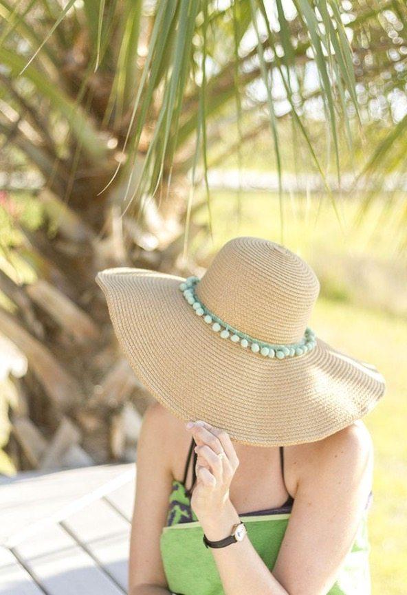 DIY Pom Pom Beach Hat