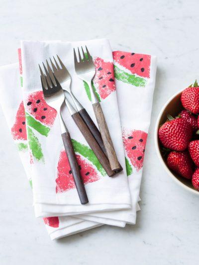 DIY Watermelon Print Napkins thumbnail