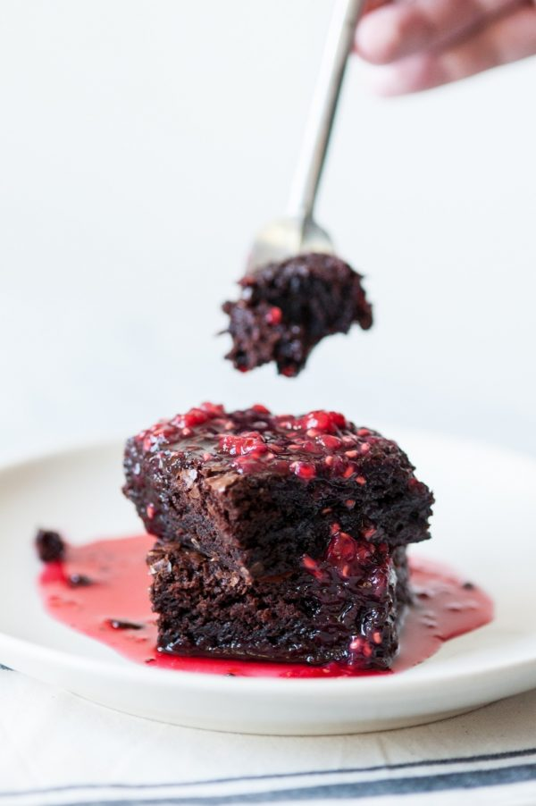 Brownies with Fresh Raspberry Coulis by @cydconverse