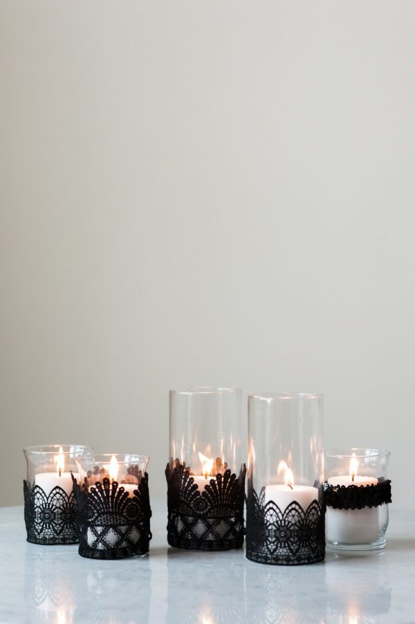 DIY Black Lace Candle Holders by @cydconverse