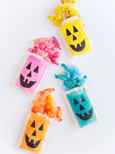 DIY Colorful Jack O'Lantern Treat Bags thumbnail