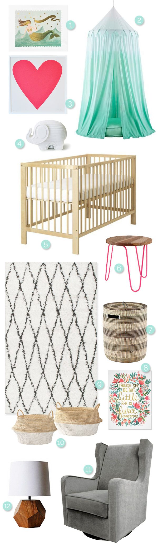 Modern Girls Nursery Ideas from @cydconverse
