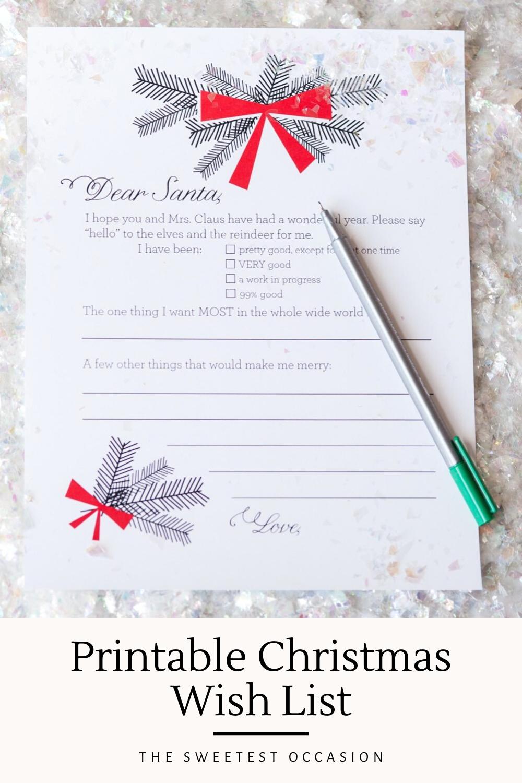 Printable Christmas Wish List Photo