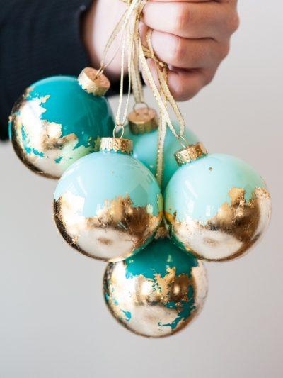 DIY Painted Gold Leaf Ornaments thumbnail