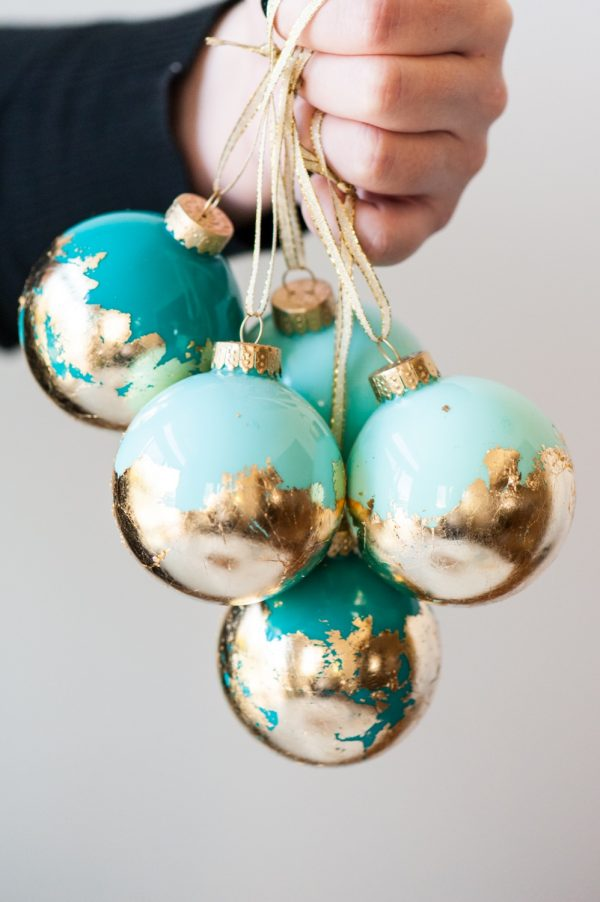 DIY Painted Gold Leaf Ornaments