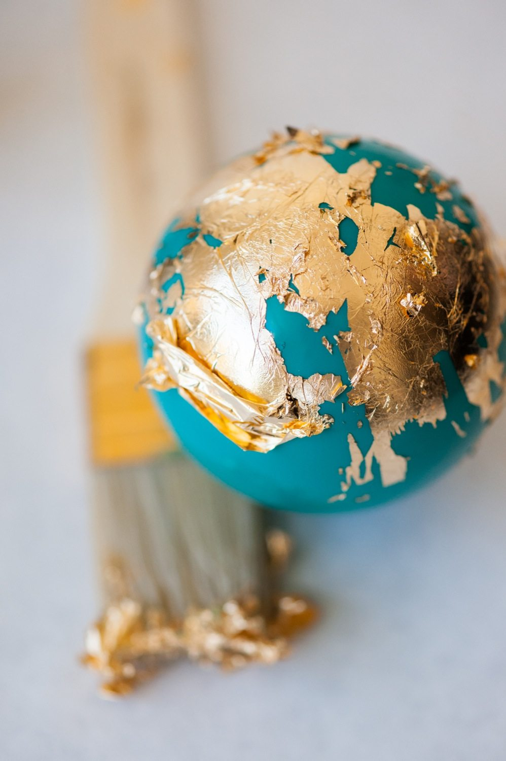 diy painted gold leaf ornaments by cydconverse