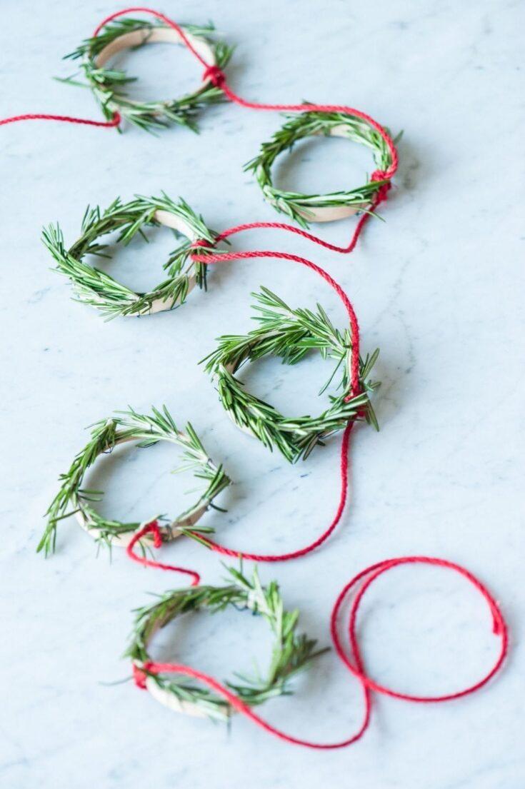 DIY Mini Rosemary Wreath Garland