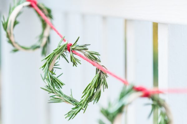 DIY Mini Rosemary Wreath Garland by @cydconverse