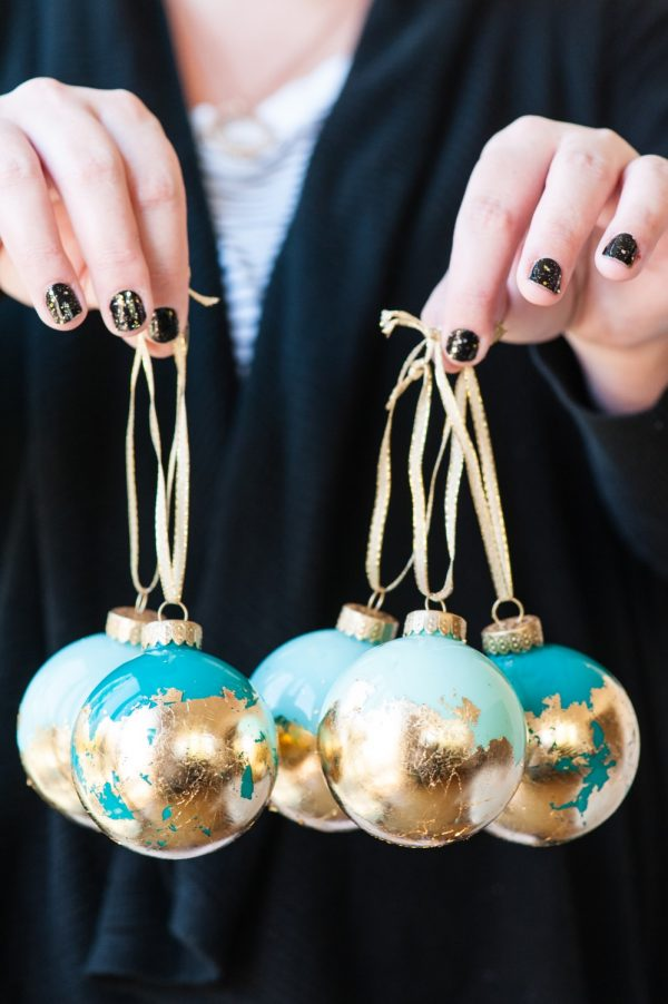 DIY Christmas Ornaments with turquoise and gold