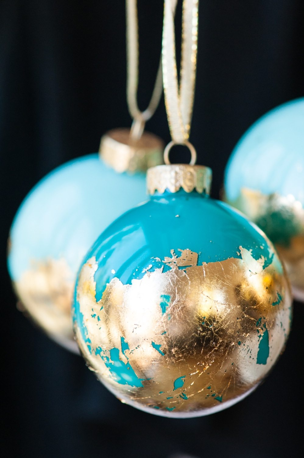 Diy painted gold leaf ornaments the sweetest occasion for What are christmas decorations