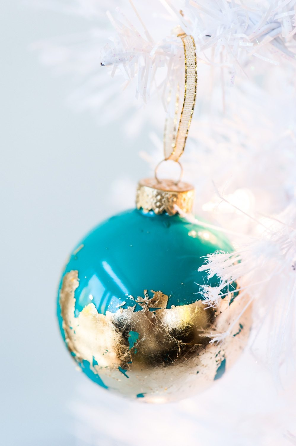 DIY Painted Gold Leaf Ornaments - The Sweetest Occasion