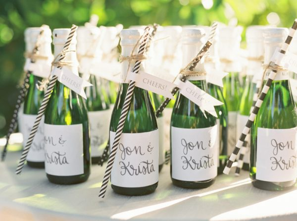 Custom Calligraphy Champagne Bottles from @cydconverse