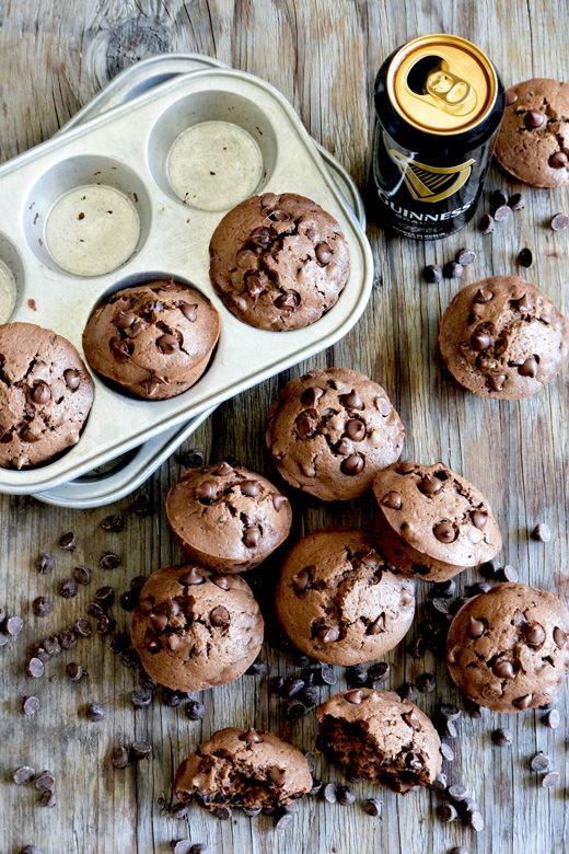 Double Chocolate Guinness Muffins | 17 Amazing Guinness Recipes from @cydconverse