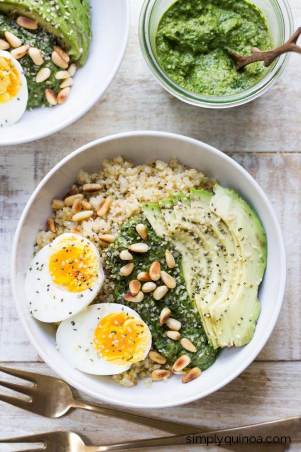 Savory Pesto Quinoa Breakfast Bowl | Healthy Breakfast Recipes from @cydconverse