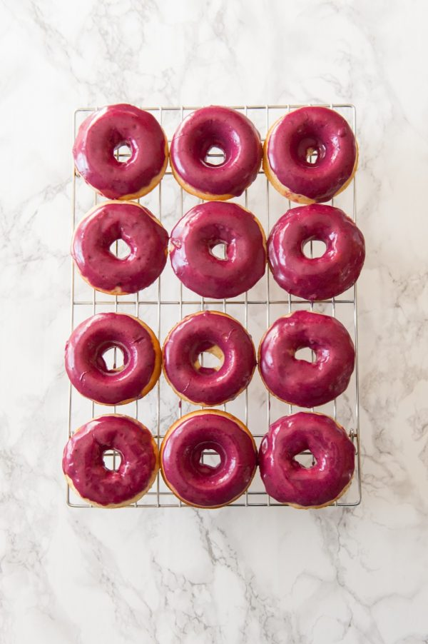 Vanilla Bean Cake Donuts with Blueberry Glaze | Donut Recipe from @cydconverse