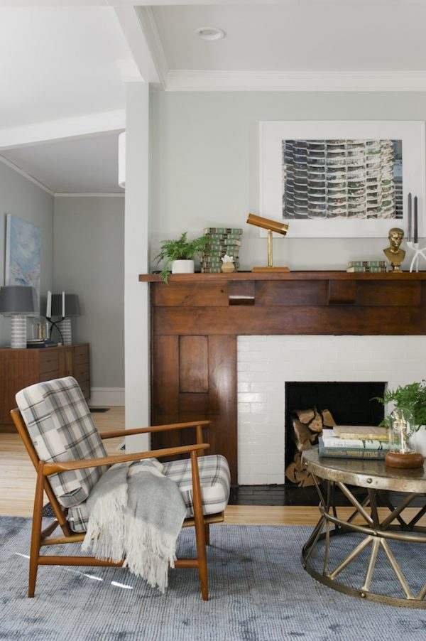 Updated Craftsman living room with gorgeous wood mantle