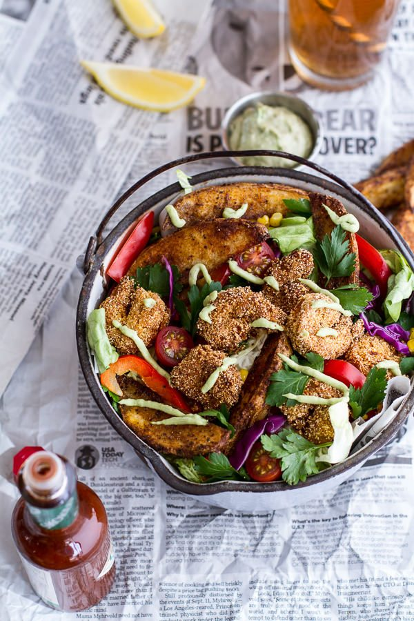 Cajun Shrimp Po Boy Salad | Best summer salad recipes for dinner from @cydconverse
