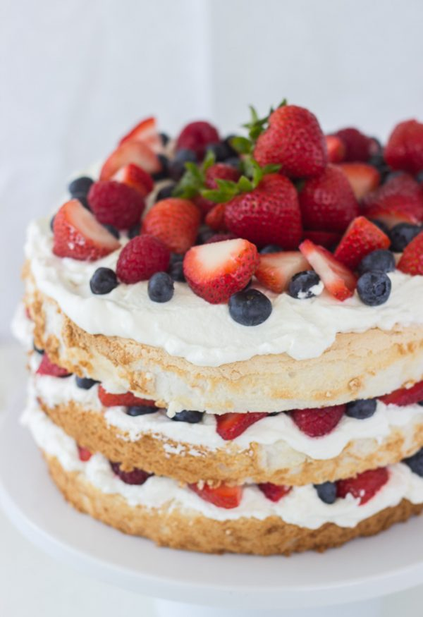 Angel Food Cake with Coconut Whipped Cream and Berries | Patriotic 4th of July recipes from @cydconverse plus more 4th of July party ideas, entertaining ideas and more!