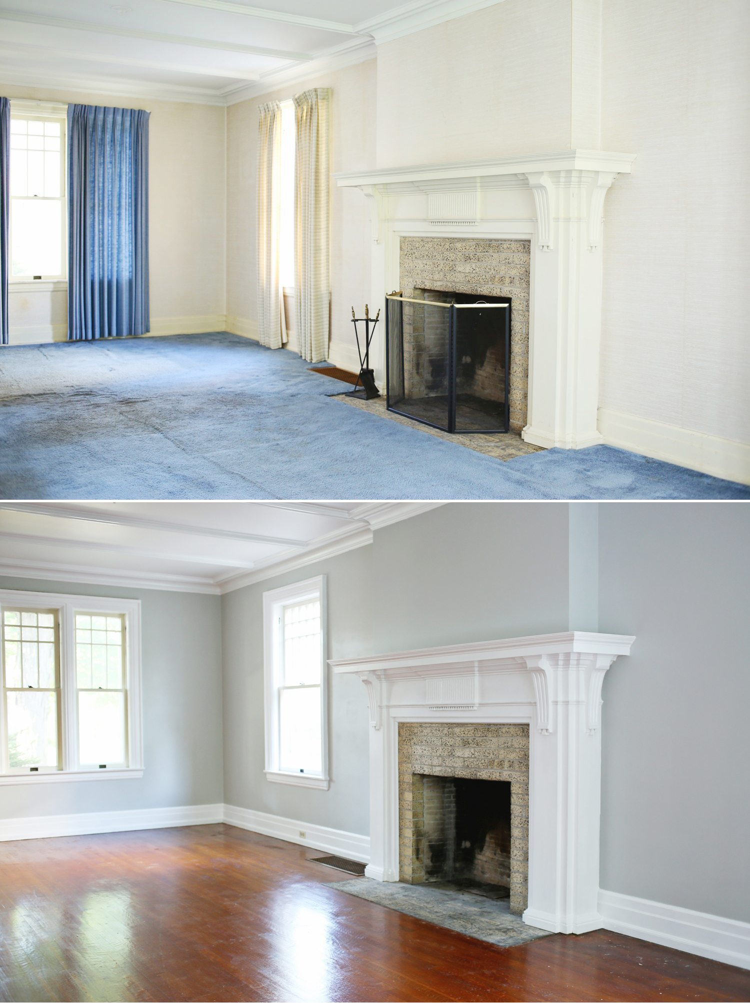 Our living room renovation before and after the for Living room renovation before and after