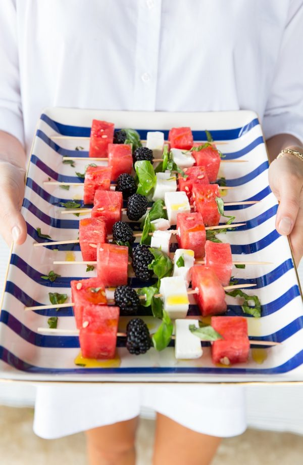 Watermelon Skewers | Patriotic 4th of July recipes from @cydconverse plus more 4th of July party ideas, entertaining ideas and more!