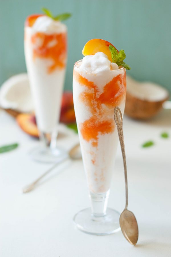 Coconut Peach Lemonade Slushies Recipe   Best Summer Peach Recipes and Summer Entertaining Ideas from @cydconverse
