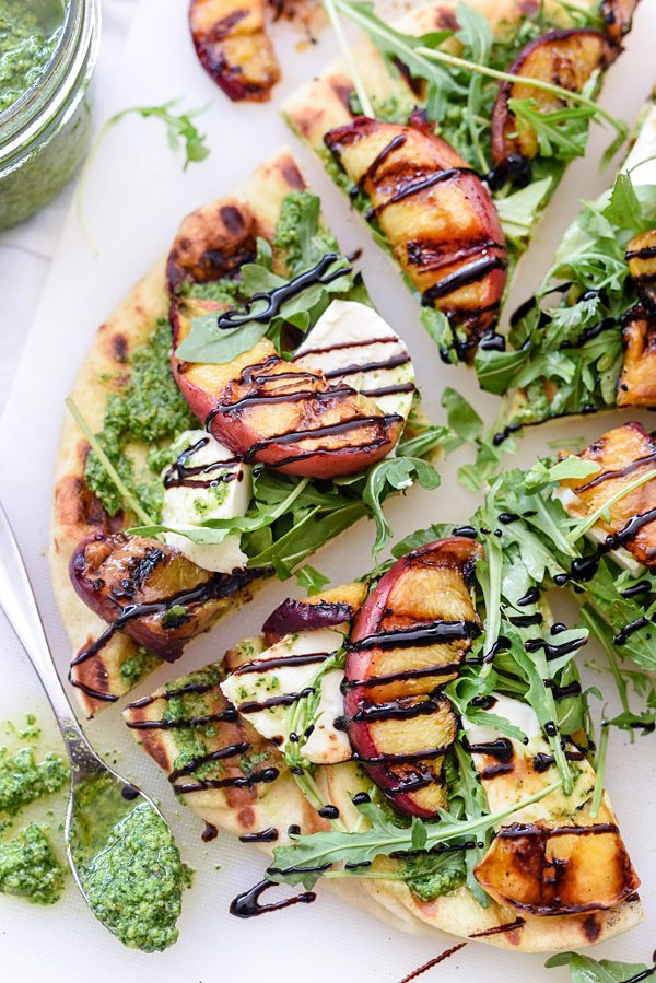 Grilled Flatbread with Peaches and Arugula Pesto Recipe | Best Summer Peach Recipes and Summer Entertaining Ideas from @cydconverse