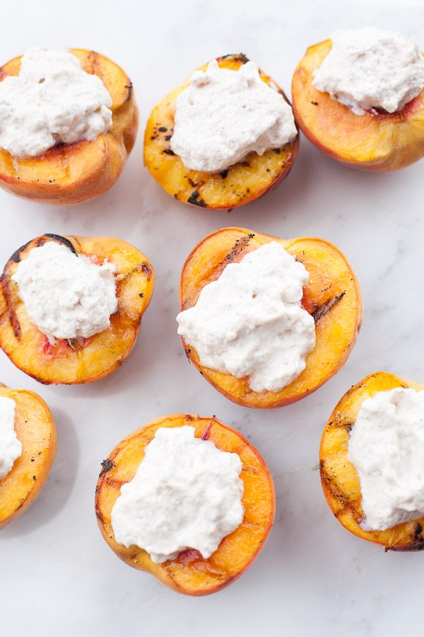 Grilled Peaches with Cinnamon Whipped Cream | Best Summer Peach Recipes and Summer Entertaining Ideas from @cydconverse