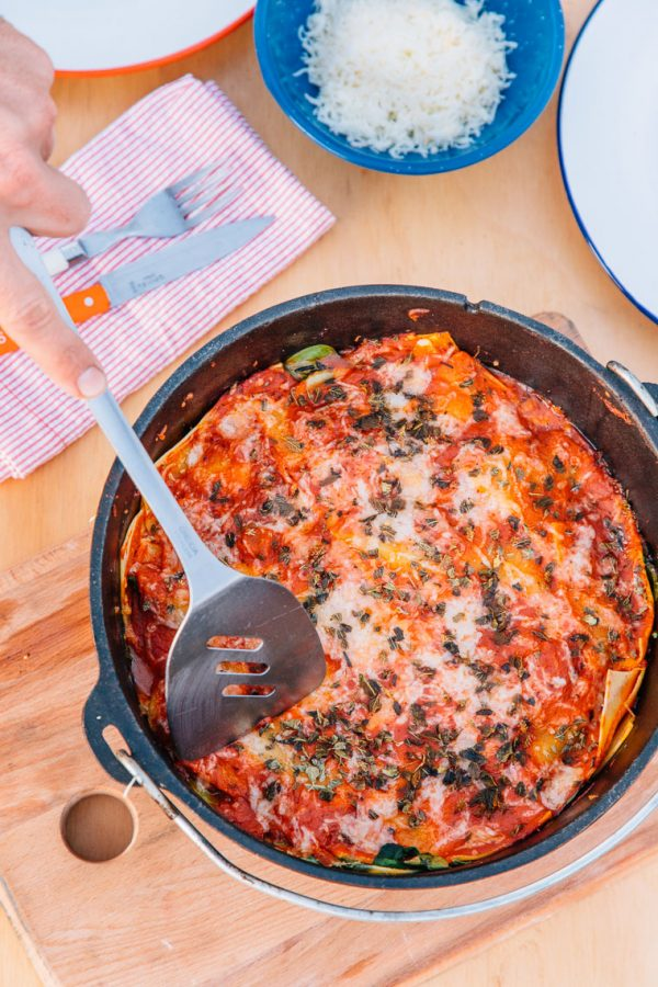 Campfire Dutch Oven Lasagna Recipe | 12 Delicious Camping Recipes from @cydconverse plus camping tips and a camping packing list!