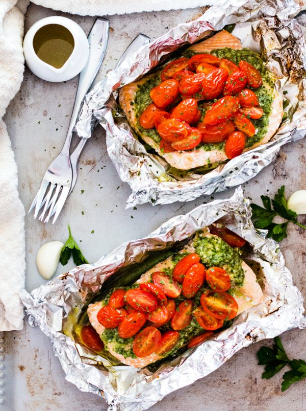 Salsa Verde Baked Salmon in Foil Recipe | 12 Delicious Camping Recipes from @cydconverse plus camping tips and a camping packing list!