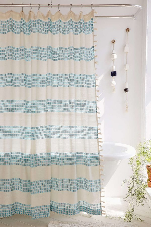 Isra Floating Weft Shower Curtain | Pretty shower curtains and more home decor ideas from @cydconverse