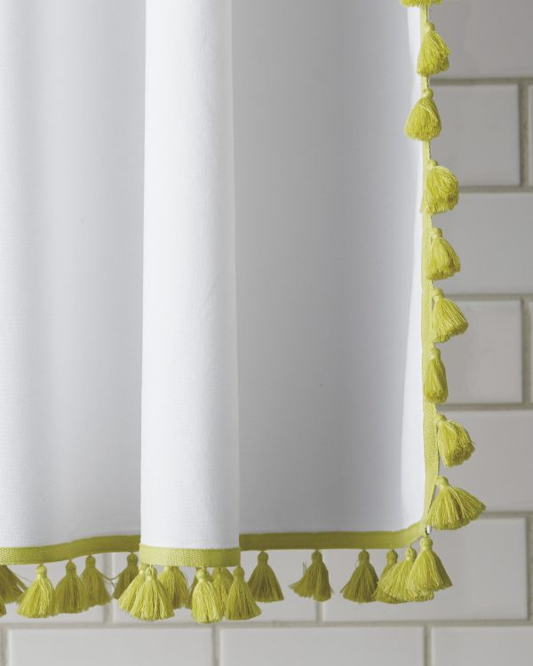 French Tassel Shower Curtain | Pretty shower curtains and more home decor ideas from @cydconverse