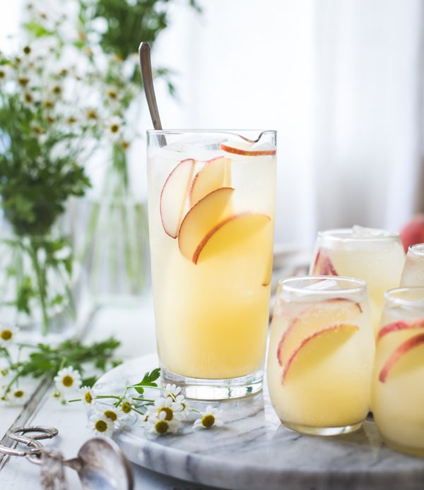 White Nectarine Sangria with Fresh Ginger | 15 Sangria Recipes for Late Summer and Fall | Cocktail recipes, entertaining tips and party ideas from @cydconverse