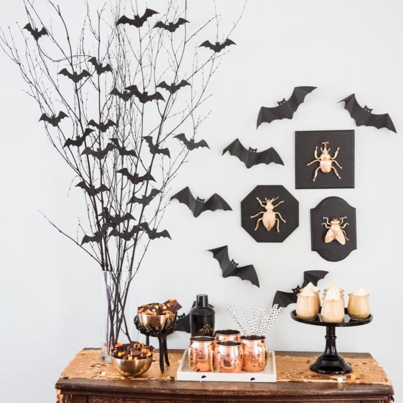 DIY Bat Branch Halloween Centerpiece