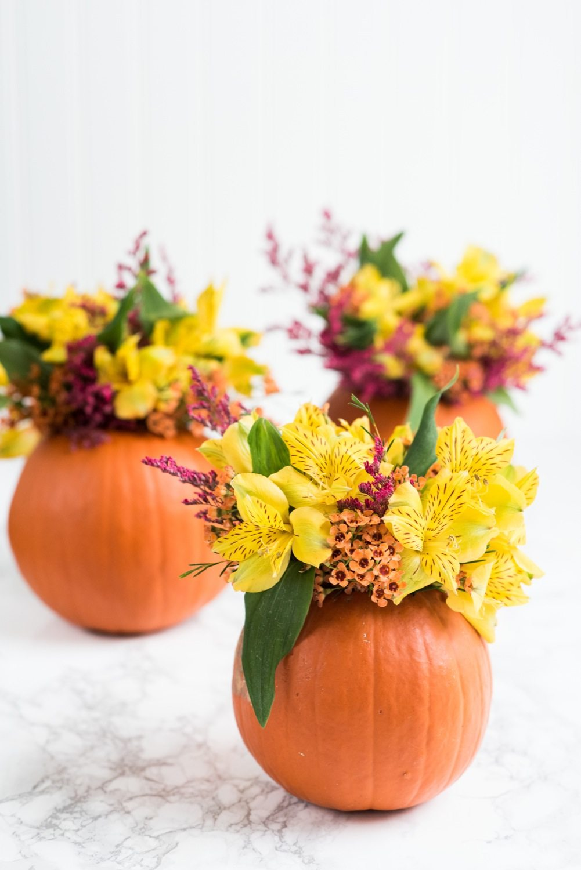 DIY Pumpkin Flower Arrangements - The Sweetest Occasion
