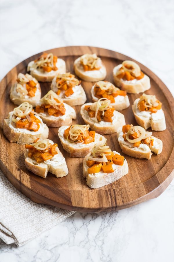 Butternut Squash Goat Cheese Crostini | Thanksgiving recipes, Thanksgiving appetizer, entertaining ideas, party tips and more from @cydconverse