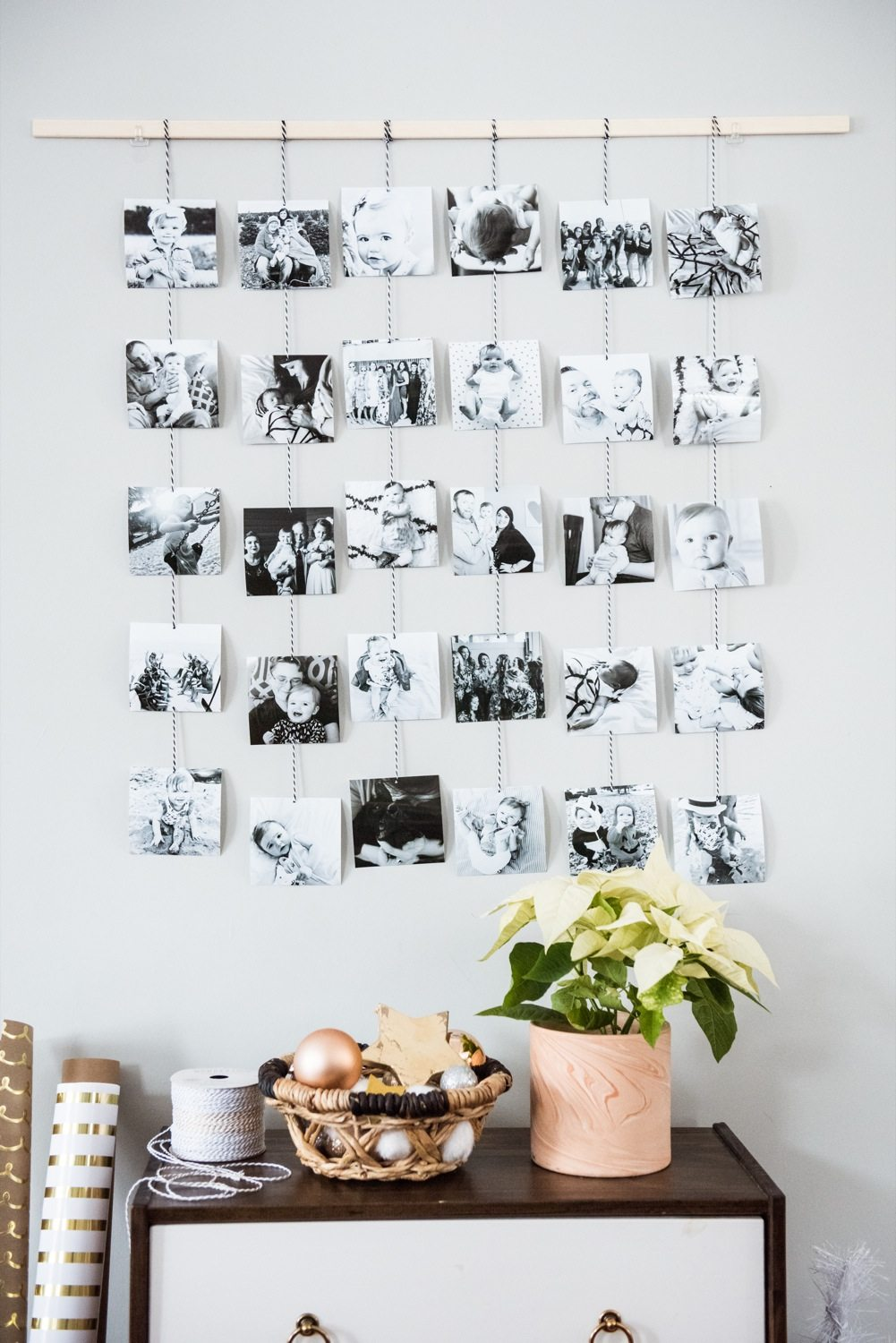 diy family photo wall hanging the sweetest occasion. Black Bedroom Furniture Sets. Home Design Ideas