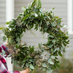 DIY Eucalyptus + Pine Christmas Wreath thumbnail