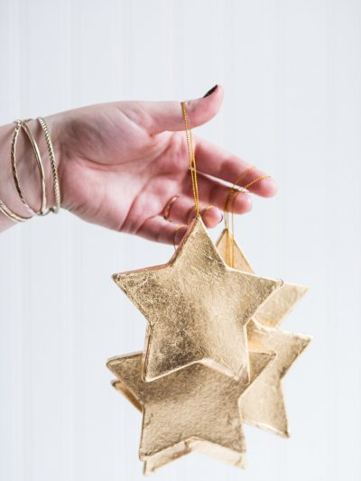 DIY Gold Leaf Star Ornaments thumbnail