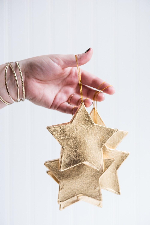 Diy Gold Leaf Star Ornaments