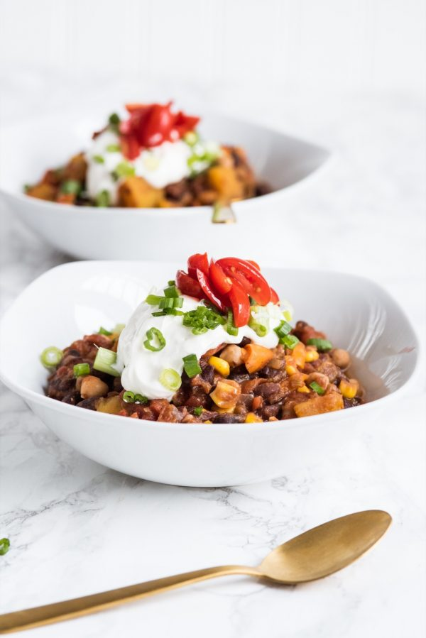Butternut Squash Vegetarian Chili Recipe | Super Bowl recipes, entertaining tips, Super Bowl party ideas, party themes and more from @cydconverse