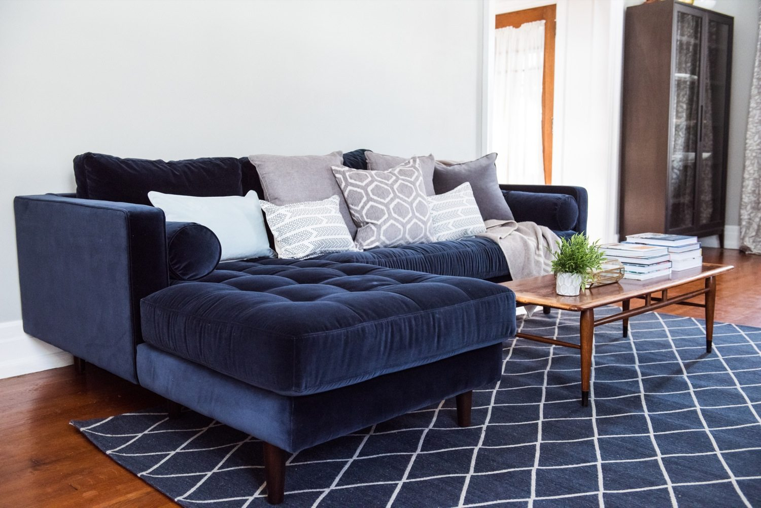 A living room update our new velvet sofa the sweetest for How long is a loveseat