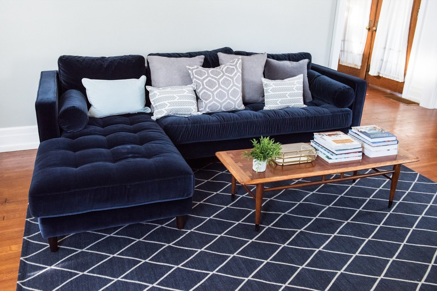 a living room update our new velvet sofa the sweetest