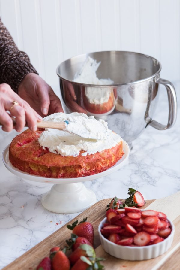 Strawberry Poke Cake with Berries + Cream | Birthday cake recipes, poke cake recipes, party appetizers, entertaining tips, birthday party ideas and more from @cydconverse