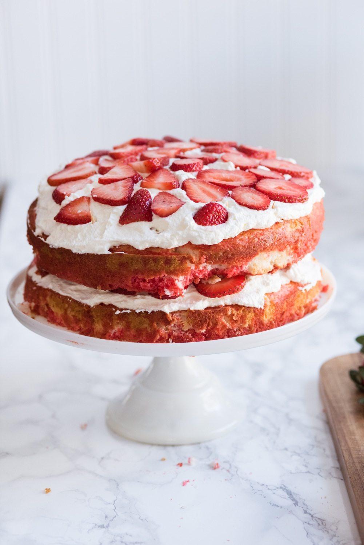 Make Me A Cake Strawberry Poke Cake With Berries Cream The
