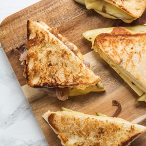 Caramelized Onion Dill Pickle Grilled Cheese thumbnail