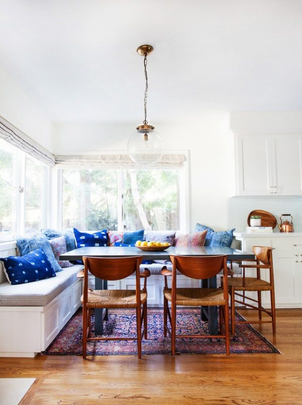 Colorful Boho Breakfast Nook | Dining room design ideas, breakfast nook ideas, dining room decor and more home decor ideas from @cydconverse
