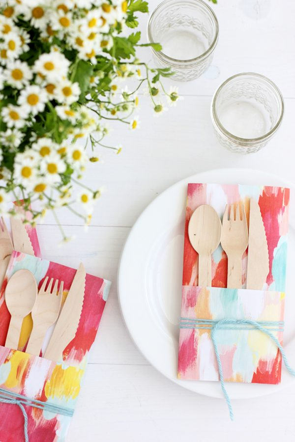 DIY Paper Utensil Holder | DIY ideas, spring craft ideas, first day of spring ideas and more from @cydconverse